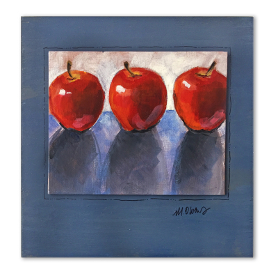 Judy's Apples - SOLD 7'' x 5'' acrylic on canvas board mounted on painted wood