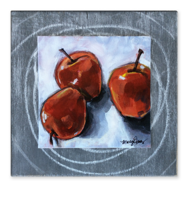 Apple Topple  - SOLD 6'' x 6'' acrylic on canvas board mounted on painted wood